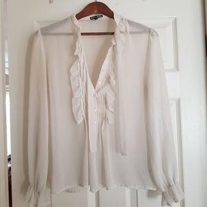 Express white tie blouse size M
